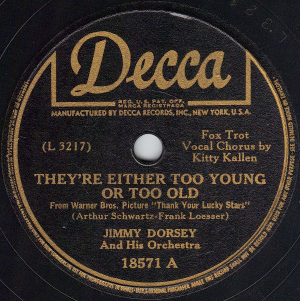 Art for They're Either Too Young Or Too Old by Jimmy Dorsey