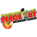 PEACE OUT RADIO - Best Of The 60's and Early 70s. This Music Will Take You Back, To A Better Time When Peace and Love Were The Ultimate Trip! logo